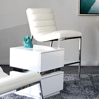 Bardot Counter Height Chair w/ Stainless Steel Frame by Diamond Sofa - White