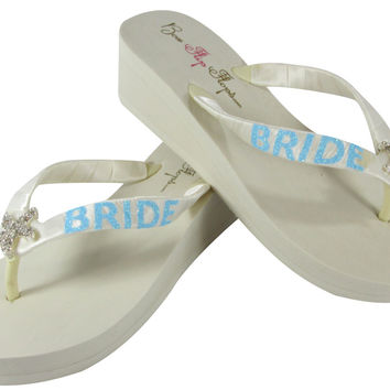 Starfish Aqua Blue Flip Flops in Ivory with Glitter Bride Bling on Heel Platform Sandals