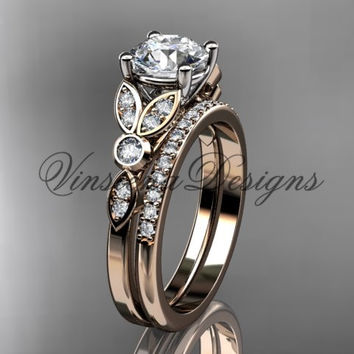 14k rose gold diamond unique engagement ring set, wedding ring ADLR387S