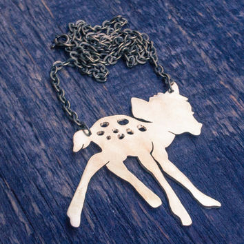 Disney Bambi necklace, Walt Disney Necklace, Fawn necklace, Bambi jewellery, Deer jewelry, Roe necklace, FREE SHIPPING