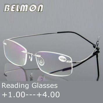 Reading Glasses Men Women Rimless Ultra-Light Magnetic Presbyopic Eyeglasses For Male Female +1.0+1.5+2.0+2.5+3.0+3.5+4.0 RS079