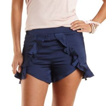 Navy Satin High-Waisted Ruffle Shorts by Charlotte Russe