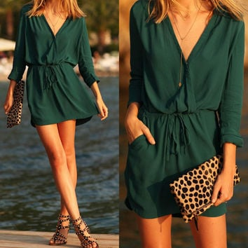 V-Neck Drawstring Dress With Pocket - Green