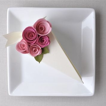SALE - Garden Party Series - PAPER Cream cake slice favor box with blossom and fuchsia flowers. 1 cake slice.
