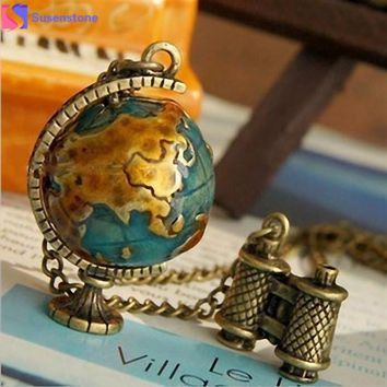 Vintage Globe Earth Telescope Tellurion Enamel Pendant Necklace Chain