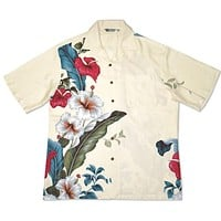 sweetheart cream hawaiian aloha rayon shirt