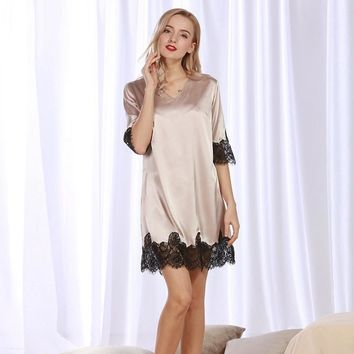 2017 summer sleep dress sleep shirt home clothes lace Satin Sleepwear Silk Nightgown Women Nightdress Lingerie Female Nightie