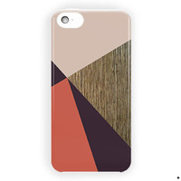 Coral Pink Brown Color Block Wood For iPhone 5 / 5S / 5C Case
