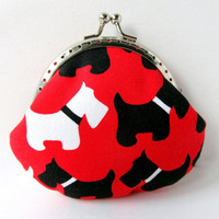 Coin purse Scottie dog Red Black White Change purse Change pouch Kiss lock Clasp purse