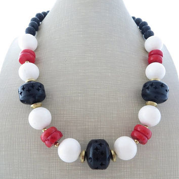 White and red coral necklace, black chunky necklace, ethnic necklace, big bold necklace, beaded necklace, summer jewelry, wooden jewelry