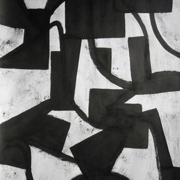 "A2 Contemporary Structure Black and White Ink Painting 16.5x23.4 ""Untitled 238"""