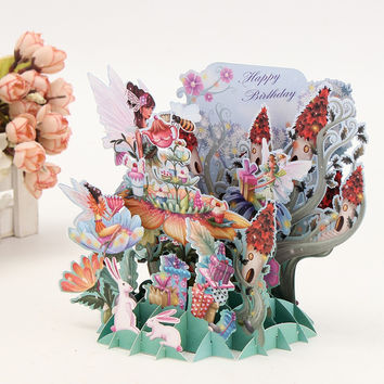 1pc Flower Fairy DIY 3D Pop Up Greeting Card Laser Cut Origami Paper Craft Art Birthday Greeting Card Postcards