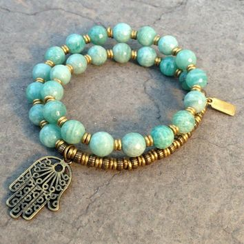 Confidence, Green Amazonite Gemstone 27 Beads Mala Bracelet with Hamsa Hand