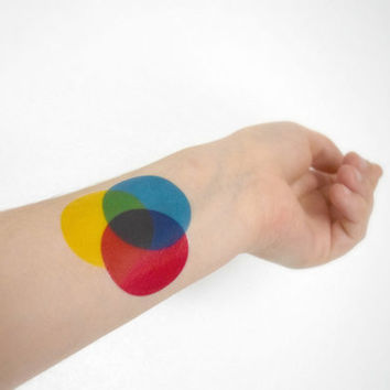 Colour wheel temporary tattoo - Ink, Teacher, Art Student, Blue, Yellow, Pink, Colourful, Tattoo, Artist, Accessories