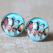 Birds on a Wire Stud Earrings : Teal Blue and Black Bird Studs, Four, Colorful, Cute, Bohemian, Artisan Tree, Fake Plugs