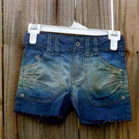 Kids Bleached and Blue Dip-Dyed Shorts