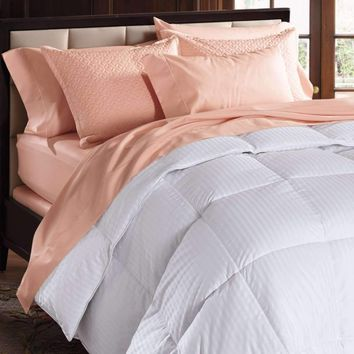Isabella 600 Fill Power Damask Stripe White Goose Down Comforter