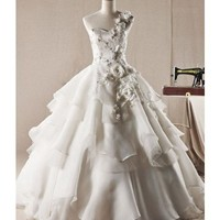 One Shoulder Organza Floor Length Ball Gown Style 3097 $185.72 only in eFexcity.com.