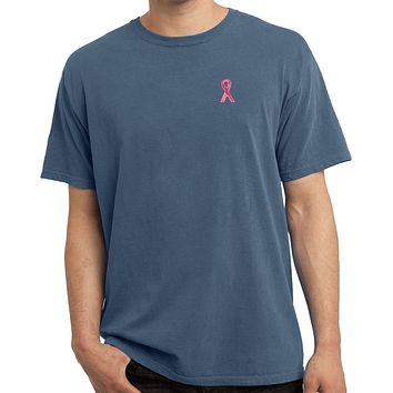Breast Cancer Shirt Sequins Ribbon Pocket Print Pigment Dyed Tee