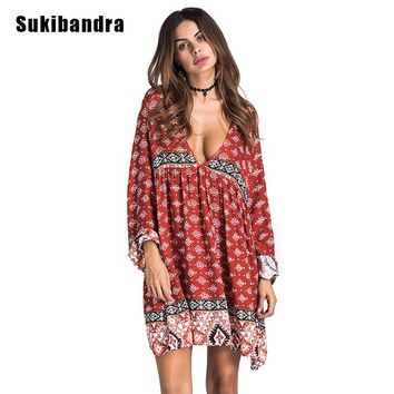 Sukibandra Autumn Long Sleeve Vintage Women Printed Short Dress Sexy Deep V Neck Boho Chic Bohemian Dresses Ethnic Hippie Dress