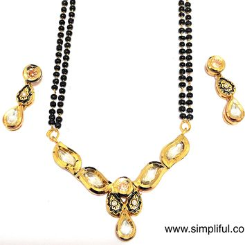 Designer Antique gold Pendant Mangalsutra with Earring - Double Chain - Long