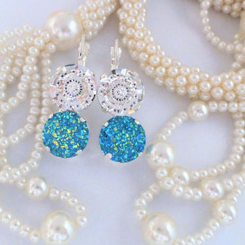 Druzy Vision,Swarovski Lever Back Earrings, 12MM,Bridal, Double Stone,Druzy Cabochon,Turquoise,Crystal Clear,DKSJewelrydesigns