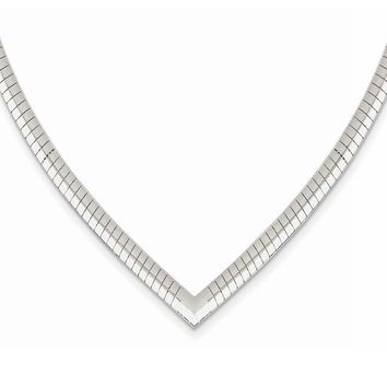 4mm Sterling Silver V-shaped Cubetto Chain Necklace, 17 Inch