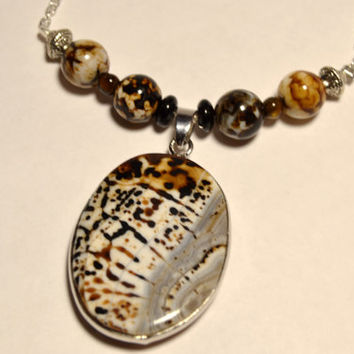 amber agate necklace, amber agate pendant, agate pendant, gemstone jewelry, silver necklace, beaded agate jewelry, montana made, bohemian