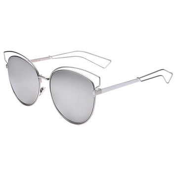 Silver Mirror Cut Out Detail Oversized Sunglasses