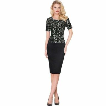 Women's Short Sleeve Black Lace Embroidery Vintage 50s New Fashion 2018 Tunic High Waist Cocktail Party Dresses Brazil 200130
