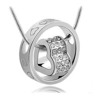 Heart in Ring - Two Pendant Silver Color Chain Gift Fashion Crystals Necklace