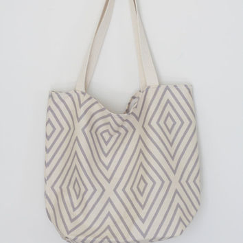 Gray & White Reusable Grocery Bag // Market Tote // Farmers Market Bag // Farmers Market Tote // Reusable Grocery Tote