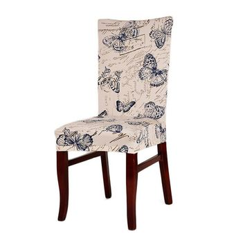 1 Piece Polyester Spandex Dining Chair Covers For Computer Office Chair Cover Wedding Party Chair Seat Cover Decoration 9 Styles