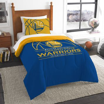"""Warriors OFFICIAL National Basketball Association, Bedding, """"Reverse Slam"""" Printed Twin Comforter (64""""x 86"""") & 1 Sham (24""""x 30"""") Set  by The Northwest Company"""