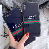 GUCCI Fashion Cute Letter Glass Mobile Phone Cover Case For iphone 6 6s 6plus 6s-plus 7 7plus iPhone 8 8 Plus iPhone X Black I13847-1
