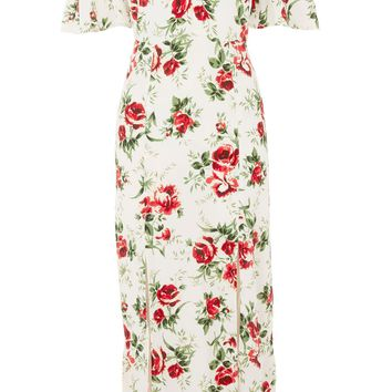 Rose Print Bardot Midi Dress