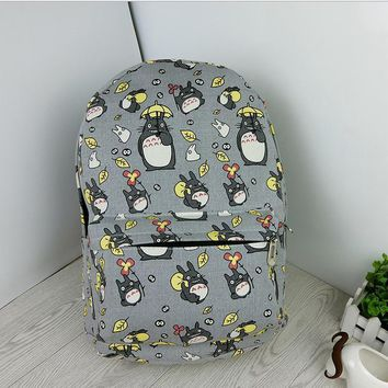 Anime My Neighbor Totoro Doraemon Backpack Canvas Bag School Bags for Boys Girls Casual Schoolbag Knapsack