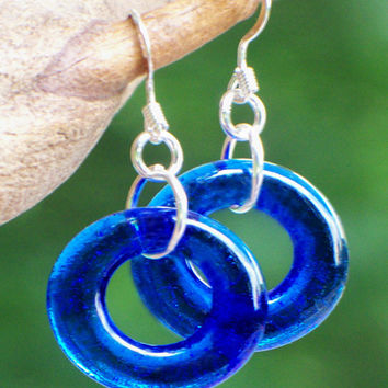 Bottled Up Cobalt Glass Hoop Earrings