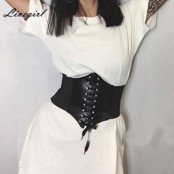 Women Fashion Women Black Elastic Extra Wide Corset Tie High Waist Slimming Belt Body Shaping Bands 5 Colors