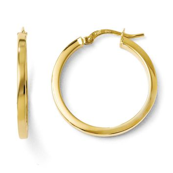 2mm Square Tube Round Hoop Earrings in 10k Yellow Gold, 24mm