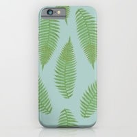fern pattern - blue iPhone & iPod Case by Her Art