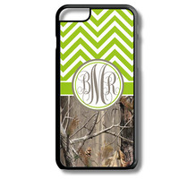 Green Apple Chevron Brown Camo Monogram iPhone 5S 5C 6/6S and Galaxy Custom Personalized Case Cover