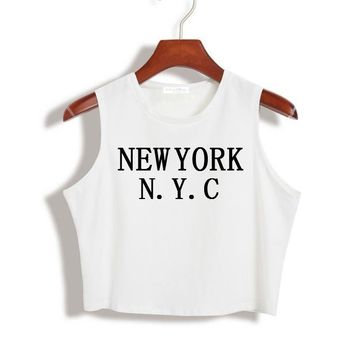 Women Summer Crop Top NEW YORK NYC Letters Funny Sexy Slim Shirt For Tank Top Tee Hipster Vest Black White Drop Ship