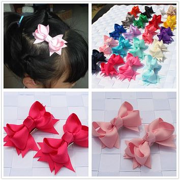 2pcs/lot newest kids children hair clip bobby pins barrette hairpins for girls hair accessories ribbon bows ornaments hairgrips