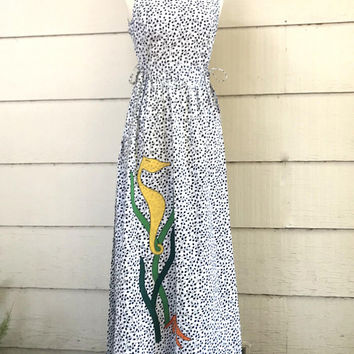 Fabulous Vintage Maxi Dress, Ava Bergmann Swirl, Seahorse Applique, Black and White Wrap Dress, NOS, Size 12, 1970s