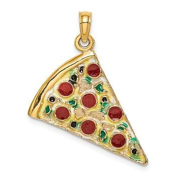 14K Yellow Gold Pepperoni Pizza Necklace Charm