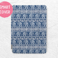 Navy blue Aztec Elephant pattern Smart Cover for iPad Mini, iPad mini 2 retina, iPad Air, iPad Air 2, tribal Smart cover with back case -P29
