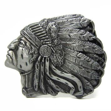 Indian Chief  Native American Western Motorcycle Belt Buckle