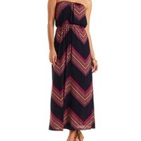 Navy Combo Chevron Print Strapless Maxi Dress by Charlotte Russe