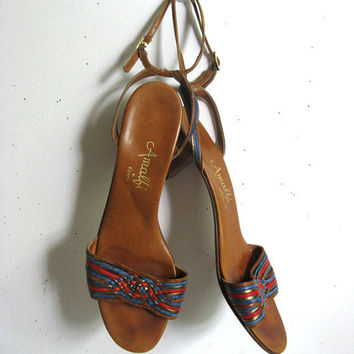 Vintage 1980s Shoes Amalfi for Rangoni Brown Leather Strapy 80s Summer Sandals Footwear 9N